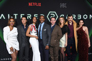 "Simone Missick, Will Yun Lee, Renee Elise Goldsberry, Anthony Mackie, Chris Conner, Dina Shihabi, Torben Liebrecht and Lela Loren attend Netflix's ""Altered Carbon"" Season 2 Photo Call at AMC Lincoln Square Theater on February 24, 2020 in New York City."