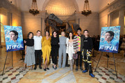 "(L-R) Amy Okuda, Keir Gilchrist, Robia Rashid, Mary Rohlich, Jenna Boyd, Fivel Stewart, Nik Dodani, and Brigette Lundy-Paine attend Netflix ""Atypical"" Season 3 special screening at Natural History Museum on October 28, 2019 in Los Angeles, California."