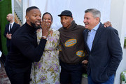 Jamie Foxx, Ambassador Nicole Avant,  Pharrell Williams and Netflix Chief Content Officer Ted Sarandos attend Netflix's The Black Godfather AMPAS Los Angeles Tastemaker on November 03, 2019 in West Hollywood, California.