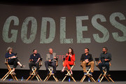 "Moderator Anne Thompson, Creator/Writer/Director/Executive Producer Scott Frank,  Executive Producer Casey Silver, Actress Michelle Dockery, Composer Carlos Rafael Rivera and  Cinematographer Steven Meizler attend Netflix Celebrates 12 Emmy Nominations For ""Godless"" at DGA Theater on August 9, 2018 in Los Angeles, California."