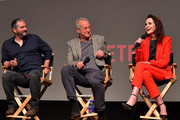"Creator/Writer/Director/Executive Producer Scott Frank,  Executive Producer Casey Silver and Actress Michelle Dockery speak onstage at Netflix Celebrates 12 Emmy Nominations For ""Godless"" at DGA Theater on August 9, 2018 in Los Angeles, California."