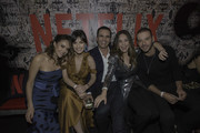 Cristina Umaña, Marcela Mar, Juan Pablo Raba, Camila Sodi and Diego Cadavid pose during Netflix Distrito Salvaje Premiere after party on October 10, 2018 in Bogota, Colombia.