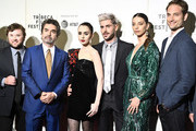 """(L-R) Haley Joel Osment, Director Joe Berlinger, Lily Collins, Zac Efron, Angela Sarafyan, and Michael Werwie attend Netflix's """"Extremely Wicked, Shockingly Evil and Vile"""" Tribeca Film Festival Premiere at BMCC Tribeca Performing Arts Center on May 02, 2019 in New York City."""