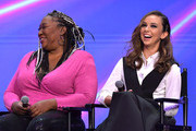 Kia Stevens and Britt Baron speak onstage at the Netflix FYSEE Glow ATAS Official Red Carpet and Panel at Raleigh Studios on June 01, 2019 in Los Angeles, California.