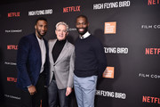 """(L-R) Justin Hurtt-Dunkley, Kyle MacLachlan, and Tarell Alvin McCraney attend the Netflix  """"High Flying Bird"""" Film Comment Select Special Screening at Walter Reade Theater on February 07, 2019 in New York City."""