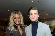 (L-R) Laverne Cox and David Corenswet attend Netflix Hollywood Tastemaker at San Vicente Bungalows on February 23, 2020 in West Hollywood, California.