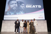 """Chris Robinson, Anthony Anderson, Dreezy, Megan Sousa, Ashley Jackson and Khalil Everage attend the """"BEATS"""" World Premiere at The American Black Film Festival on June 13, 2019 in Miami, Florida."""