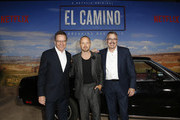 """(L-R) Bryan Cranston, Aaron Paul and Vince Gilligan attend the World Premiere of  """"El Camino: A Breaking Bad Movie"""" at the Regency Village on October 07, 2019 in Los Angeles, California."""