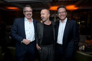"""(L-R) Vince Gilligan, Aaron Paul and Bryan Cranston attend the after party for the World Premiere of """"El Camino: A Breaking Bad Movie"""" at Baltaire Restaurant on October 07, 2019 in Los Angeles, California."""