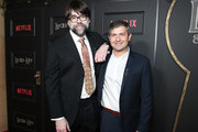 """(L-R) Joe Hill and Michael Morris attend Netflix's """"Locke & Key"""" series premiere photo call at the Egyptian Theatre on February 05, 2020 in Hollywood, California."""