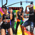 """Freema Agyeman Photos - (L-R) Freema Agyeman, Tina Desai, and Toby Onwumere are seen on the Netflix original series """"Sense8"""" float at the Los Angeles Pride Parade on June 10, 2018 in West Hollywood, California. - Netflix Original Series 'Sense8' Cast Attends Los Angeles Pride Parade"""