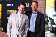 Mark Wahlberg and Peter Berg attend the Netflix Premiere Spenser Confidential at Westwood Village Theatre on February 27, 2020 in Westwood, California.