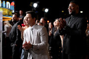 (L-R) Mark Wahlberg and Winston Duke attend the Netflix Premiere Spenser Confidential at Westwood Village Theatre on February 27, 2020 in Westwood, California.