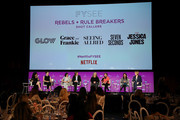 (L-R) Debra Birnbaum, Liz Flahive, Carly Mensch, Cindy Holland, Marta Kauffman, Venna Sud and Melissa Rosenberg speak onstage at the Netflix - Rebels and Rule Breakers For Your Consideration Event at Netflix FYSee Space on May 12, 2018 in Beverly Hills, California.