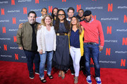 """(L-R) Executive Producer Berry Welsh, Music Supervisor Aaron Byrd, Sound-Dialog/ADR Editor Susan Dudeck,  Production Designer Akin McKenzie, Writer, Director and Creator Ava DuVernay,  Re-recording mixer Joe DeAngelis, Picture Editor Michelle Tesoro, Composer Kris Bowers and Writer Michael Starrbury  attend the Netflix """"When They See Us"""" BTL FYSEE Event at Raleigh Studios on June 14, 2019 in Los Angeles, California."""