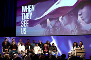 """(Back Row:)  Berry Welsh, Jonathan King, Freddy Miyares, Chris Chalk,Jovan Adepo, Justin Cunningham, Niecy Nash (Front Row:) Jane Rosenthal, Joshua Jackson, Michael K. Williams, Ethan Herisse, Asante Blackk and Jharrel Jerome onstage with Oprah Winfrey and Ava DuVernay at the Netflix """"When They See Us"""" FYSEE Event at Raleigh Studios on June 09, 2019 in Los Angeles, California."""