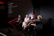 (L-R) Daniel Bruhl, Dakota Fanning, Luke Evans and Piera Detassis attend The Alienist panel during Netflix 'See What's Next' event at Villa Miani on April 18, 2018 in Rome, Italy.