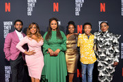 Jharrel Jerome, Niecy Nash, Ava DuVernay, Marsha Stephanie Blake, Asante Blackk and Aunjanue Ellis attend Netflix's 'When They See Us' Screening & Reception at Paramount Theater on the Paramount Studios lot on August 11, 2019 in Hollywood, California.