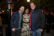 "(L-R) Jimmy Kimmel, Nicole Avant and Vince Vaughn attend Netflix world premiere of ""THE BLACK GODFATHER at the Paramount Theater on June 03, 2019 in Los Angeles, California."