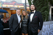"(L-R) Netflix Chief Content Officer Ted Sarandos, Jennifer Aniston and Kyle Newacheck attend the Netflix World Premiere Of ""Murder Mystery"" at Village Theatre Westwood on June 10, 2019 in Los Angeles, California."