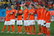 Jordy Clasie, Arjen Robben, Georginio Wijnaldum, Daryl Janmaat, Klaas-Jan Huntelaar, Ron Vlaar, Stefan de Vrij, Daley Blind and Wesley Sneijder of the Netherlands look on during a penalty shootout during the 2014 FIFA World Cup Brazil Semi Final match between the Netherlands and Argentina at Arena de Sao Paulo on July 9, 2014 in Sao Paulo, Brazil.