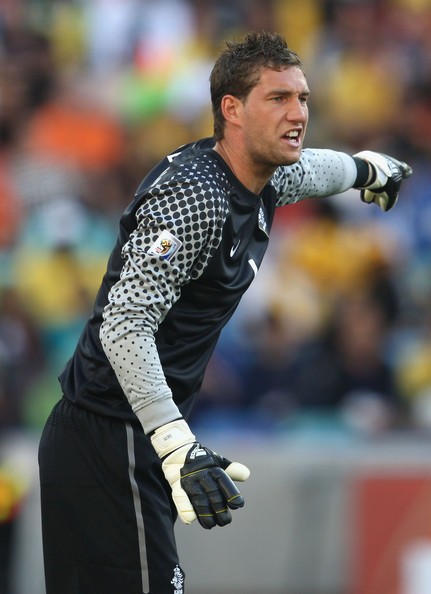 Maarten Stekelenburg Maarten Stekelenburg of the Netherlands directs his defence during the 2010 FIFA World Cup South Africa Group E match between Netherlands and Japan at Durban Stadium on June 19, 2010 in Durban, South Africa.