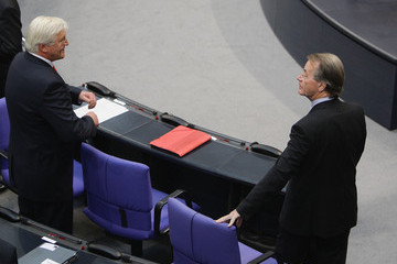 Frank-Walter Steinmeier Franz Muentefering New Bundestag Meets For The First Time