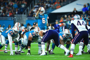 Jay Cutler #6 of the Miami Dolphins calls a play against the New England Patriots during the first quarter at Hard Rock Stadium on December 11, 2017 in Miami Gardens, Florida.