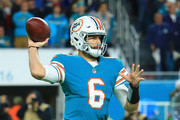 Jay Cutler #6 of the Miami Dolphins looks to pass during the fourth quarter against the New England Patriots at Hard Rock Stadium on December 11, 2017 in Miami Gardens, Florida.