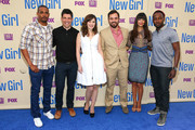 (L-R) Actors Damon Wayans Jr., Max Greenfield, Zooey Deschanel, Jake Johnson, Hannah Simone, and Lamorne Morris attend the 'New Girl' Season 3 Finale Screening and cast Q&A at Zanuck Theater at 20th Century Fox Lot on May 8, 2014 in Los Angeles, California.