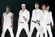 (L-R) Singers Danny Wood, Donnie Wahlberg, Jordan Knight, Joey McIntyre and Jonathan Knight of New Kids on the Block perform during a stop of the Mixtape Tour at the Mandalay Bay Events Center on May 25, 2019 in Las Vegas, Nevada.