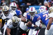 Tyrod Taylor #5 of the Buffalo Bills runs the ball during the fourth quarter against the New Orleans Saints on November 12, 2017 at New Era Field in Orchard Park, New York.