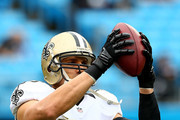 Jimmy Graham #80 of the New Orleans Saints warms up before their game against the Carolina Panthers at Bank of America Stadium on December 22, 2013 in Charlotte, North Carolina.
