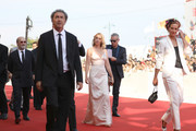 """Javier Cámara, Paolo Sorrentino, Ludivine Sagnier, Massimo Ghini and Cécile de France walk the red carpet ahead of """"The New Pope"""" screening during the 76th Venice Film Festival at Sala Grande on September 01, 2019 in Venice, Italy."""