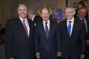 (L-R) Josef Ackermann, Olaf Scholz and Wolfgang Schuessel attend New Year Reception of publisher Klaus Schuemann at Hotel Louis C. Jacob on January 9, 2014 in Hamburg, Germany.