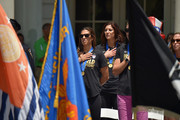Soccer players Carli Lloyd and Hope Solo celebrate the World Cup Champions U.S. Women's Soccer National Team at a City Hall ceremony following a New York City Ticker Tape Parade on July 10, 2015 in New York City.
