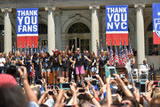Abby Wambach (C) and the World Cup Champions U.S. Women's Soccer National Team celebrate at a City Hall ceremony following a New York City Ticker Tape Parade on July 10, 2015 in New York City.