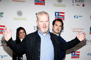 Caroline Hirsch, Jim Gaffigan and Jimmy Carr attend The New York Comedy Festival and The Bob Woodruff Foundation present the 12th Annual Stand Up For Heroes event at The Hulu Theater at Madison Square Garden on November 5, 2018 in New York City.