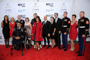 (L-R) Lee Woodruff, Martin E. Dempsey, Shane Parsons, Roger Waters, Caroline Hirsch, Brian Mast, Bob Woodruff, Evan Stratton, Jenna Ridgeway, and Daniel Ridegway  attend The New York Comedy Festival And The Bob Woodruff Foundation Present The 7th Annual Stand Up For Heroes Event at The Theater at Madison Square Garden on November 6, 2013 in New York City.