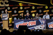 (L-R) Lyndie Greenwood, Zach Appelman, Nikki Reed and Raven Metzner of Sleepy Hollow speak during New York Comic-Con 2015 day 4 at the Jacob K. Javits Convention Center on October 11, 2015 in New York City.