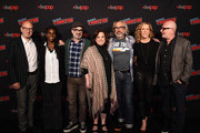 Sir Patrick Stewart, Hanelle M. Culpepper, Alex Kurtzman, Kirsten Beyer, Michael Chabon, Heather Leyton Kadin, and Akiva Goldsman speak onstage during the Star Trek Universe panel New York Comic Con at the Hulu Theater at Madison Square Garden on October 05, 2019 in New York City.