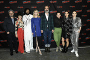 (L-R) Graeme Manson, Sheila Vand, Daveed Diggs, Mickey Sumner, Steven Ogg, Alison Wright, Jennifer Connelly, and Lena Hall attend the Snowpiercer press line during New York Comic Con at Hammerstein Ballroom on October 05, 2019 in New York City.