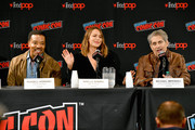 Russell Hornsby, Arielle Kebbel, and Michael Imperioli speak onstage during the Lincoln Rhyme: Hunt for the Bone Collector panel at New York Comic Con 2019 Day 3 at Jacob K. Javon October 05, 2019 in New York City.