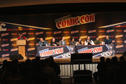 (L-R) Panel host Chris Hardwick, producer Roy Conli, director Don Hall, director Chris Williams, and actors Jamie Chung, Genesis Rodriguez, T.J. Miller, Ryan Potter, and Scott Adsit attend Walt Disney Studios' 2014 New York Comic Con presentation of 'Big Hero 6' at the Javits Convention Center on Thursday October 9, 2014 in New York City.