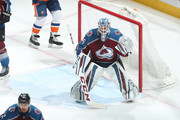 Goaltender Jonathan Bernier #45 of the Colorado Avalanche stands ready against the New York Islanders at the Pepsi Center on December 31, 2017 in Denver, Colorado. The Avalanche defeated the Islanders 6-1.
