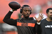 Tyrod Taylor #5 of the Cleveland Browns warms up prior to the game against the New York Jets at FirstEnergy Stadium on September 20, 2018 in Cleveland, Ohio.
