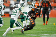 Tyrod Taylor #5 of the Cleveland Browns carries the ball in front of Trumaine Johnson #22 of the New York Jets during the second quarter at FirstEnergy Stadium on September 20, 2018 in Cleveland, Ohio.