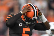 Tyrod Taylor #5 of the Cleveland Browns reacts after being hit during the first quarter agains the New York Jets at FirstEnergy Stadium on September 20, 2018 in Cleveland, Ohio.