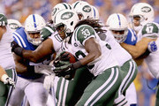 Chris Ivory #33 of the New York Jets runs with the balll during the game against the Indianapolis Colts during the game at Lucas Oil Stadium on September 21, 2015 in Indianapolis, Indiana.