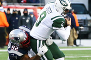 James Harrison #92 of the New England Patriots sacks Bryce Petty #9 of the New York Jets at Gillette Stadium on December 31, 2017 in Foxboro, Massachusetts.